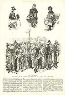 1891 Antique Print - LONDON East End Distress Assembly Hall Mile End Road (178)