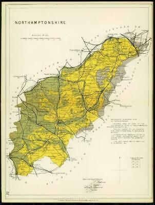 1904 Original Antique Colour Map of NORTHAMPTONSHIRE Geological (41)