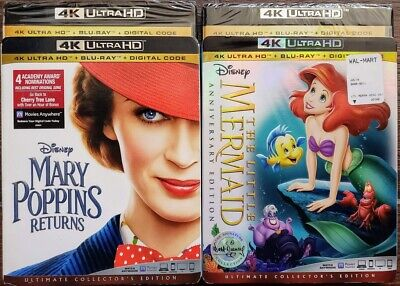 Mary Poppins Returns + Little Mermaid 4K + Bluray Slipcover No Digital Disney