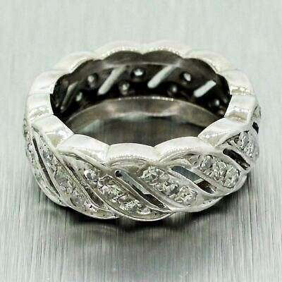 1930s Antique Art Deco 14k Solid White Gold 0.78ctw Diamond Swirl Ring