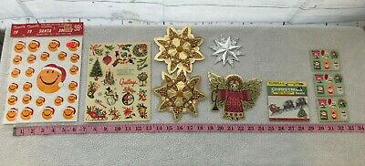Vintage Assorted Lot Christmas Stickers Santa Claus Greetings Smiley Face Crafts
