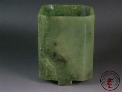 Fine Old Chinese Celadon Nephrite Jade Carved Brush Pot Style Statue