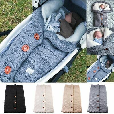 Toddler Button Knitted Swaddle Wraps Sleeping Bags Winter Warm Stroller Wrap Bag