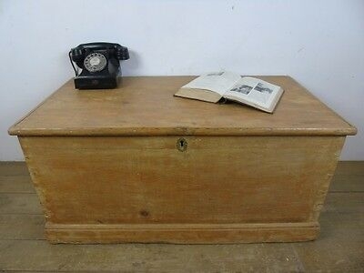Antique Pine Blanket Chest Wood Storage Trunk Metal Handle Victorian Old Box