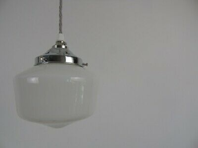 Small Vintage Opaque Glass Shade chromed gallery Traditional flex