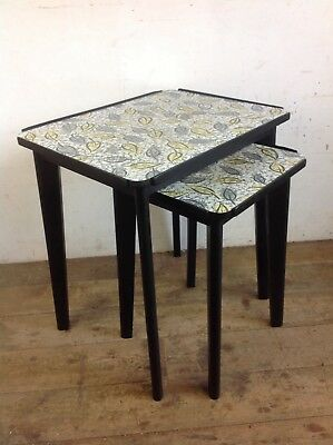 Vintage Retro Coffee side Tables Funky Formica nest of 2 furniture old 1970s