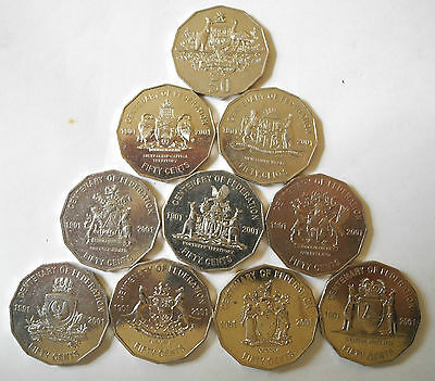Full Set 2001 Centenary Of Federation 50 Cent Coins - From Circulation