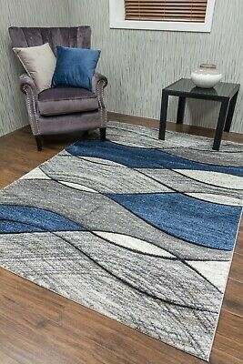 Modern Rugs Mats Grey Blue Navy Ex Large Small Wave Clearance Thick Big Carpet