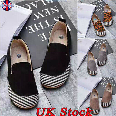 UK Womens Pumps Slip On Ladies Casual Flat Trainers Loafers Round Toe Shoes Size
