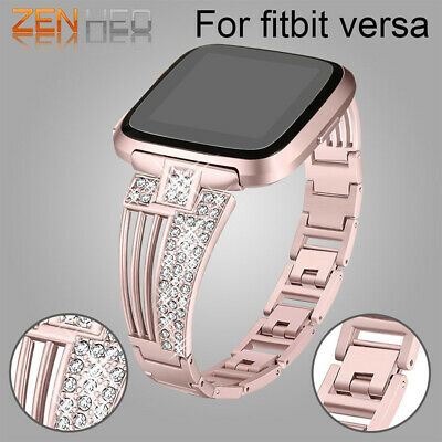 Bling Bracelet Compatible Fitbit Versa Bandes Pour Femmes Stainless Steel Neuf
