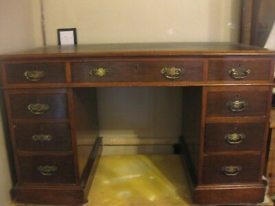 Antique Victorian Mahogany Leather Top Pedestal Desk / Kneehole Desk