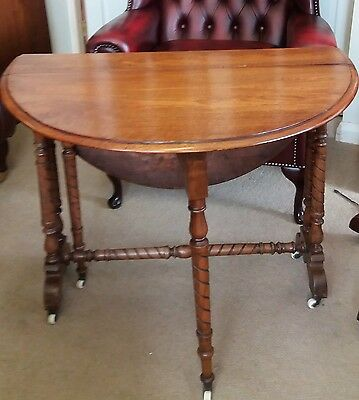 Antique Victorian Walnut Sutherland Drop Leaf Side Table