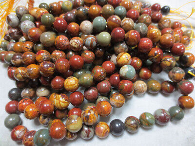Natural Picasso Jasper Gemstone Round Loose Beads 4mm 6mm 8mm 10mm 12mm 14mm 15""