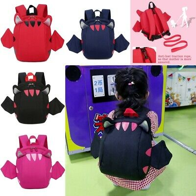 Cartoon Baby Toddler Kids 3D wing Safety Harness Strap Bags Backpack Reins bat