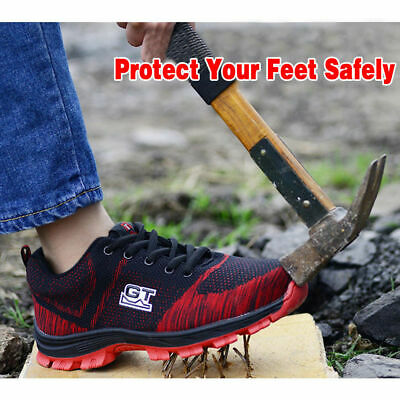 GT Men Safety Breathable Steel Cap Toe Sneakers Soft Climbing Hiking Work Shoes