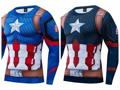 Superhero Marvel 3D Printed T-shirts Captain America Fitness Cycling Gym Tops