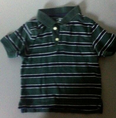 Boys The Childrens Place Size 3T Green/ Blue Striped Polo Shirt EUC!!!
