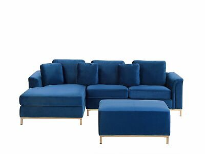 Modern Navy Blue Velvet Sectional Sofa with Ottoman Gold Legs Right Hand Oslo