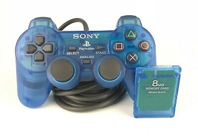 SONY PlayStation 2 DualShock Clear Blue Controller + Memory Card Bundle PS1 PS2