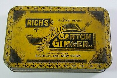 Vintage Rich's Crystalized Canton Ginger E.C.Rich Inc. Tin #DD12