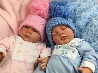 Beautiful Newborn Reborn Baby Boy/Girl Twins Bobble Hat A E