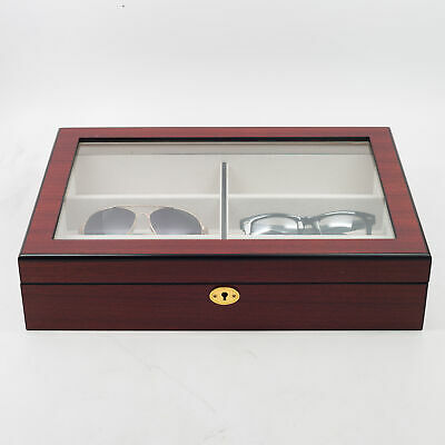 6 Cherry Wood Eyeglass Sunglass Oversized Glasses Storage Display Case Organizer
