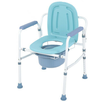 Commode Chair Seat Backrest Mobility Aid Portable Toilet Support in Steel