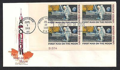 Apollo 11 - Rocket Liftoff - 1969 First Day Cover - 4 First Man On Moon Stamps