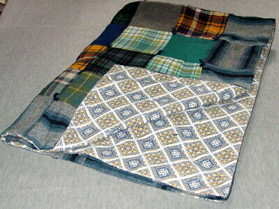 Vintage Wool Patchwork Plaid Throw Lap Blanket Flannel Back Tied Quilt