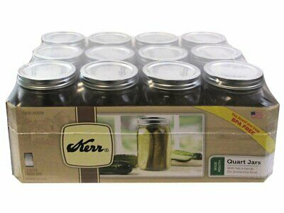 Glass Mason Jars with Lids and Bands 32 Oz. 12 Count Kerr Wide Mouth BPA Free