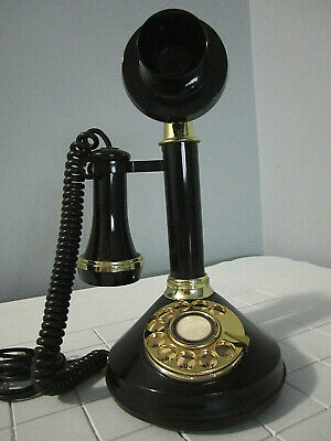 Vintage Rotary Retro Candlestick Replica Telephone Black and Gold