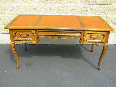 Baker Furniture French Louis XV Style Vintage Oak Leather Top Writing Desk