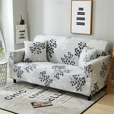1/2/3/4 Seater Leaf Elastic Sofa Covers Slipcover Settee Stretch Couch Protector