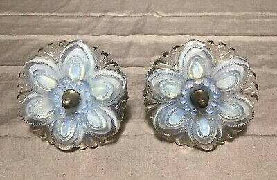 Antique Victorian Curtain Drape Tie Backs Holders Opalescent Flowers Shabby Chic