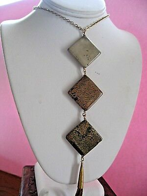 Erin Semel Necklace Jasper Earthy Trio Large Stones w Suede LONG Gold Chain NWT