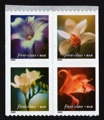 USA, Scott # 3454-3457 (3457A), BOOKLET PANE OF 4 SINGLE-SIDED - ORCHIDS, MNH