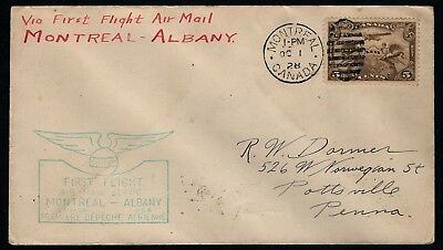 CANADA, Scott # C1, FDC FIRST DAY COVER OF FIRST FLIGHT MONTREAL ALBANY 1928