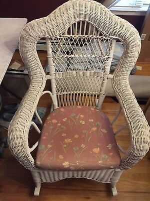Vintage Large White Wicker Rocking Chair Pick Up Long Island NY LINY