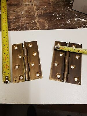 "pair of brass hinges reclaimed Narrow suite with washers 4"" x 2  5/8"""