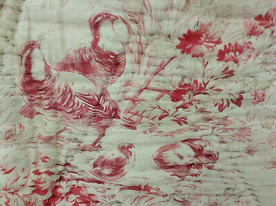 Antique French quilt fragment Fabric Piece two sides Birds Floral Rustic old