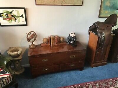 Mahogany And Walnut Campaign Style 2 Drawer Side Table / Chest...