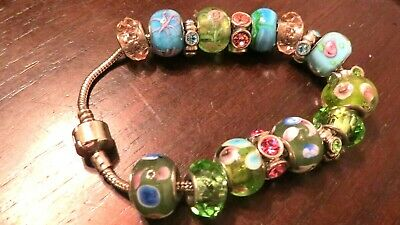 """Loaded European Style 18 Charms Bracelet Murano Glass Beads Green Pink Blue 8""""in"""