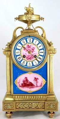 Antique Mantle Clock Beautiful French Solid Bronze & Sevres Bell Striking C1880