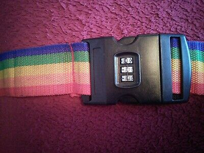 Adjustable Rainbow Stripe Travel Strap With Combination Lock Release Buckle