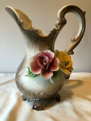 Collectible Vintage Antique Estate ITALIAN CAPODIMONTE Small-Med Footed Pitcher