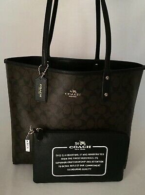 370f202a NEW COACH F36658 Reversible City Tote In Signature Brown Black NWT ...