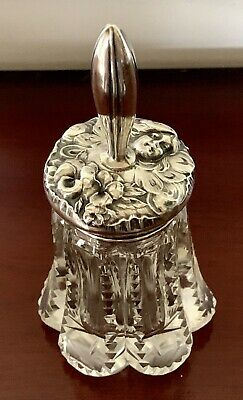 BUTTERFLY LADY ~NOUVEAU Sterling Silver & Crystal DESK POT JAR ANTIQUE VICTORIAN
