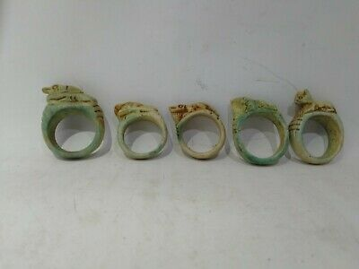 RARE ANTIQUE ANCIENT EGYPTIAN 5 Rings Amulets Protection Goddess Cat 1650-1575Bc