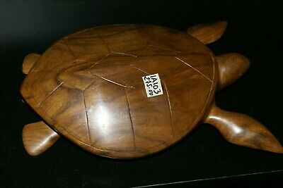 South Pacific Melanesia Sculptor Unique Art Marine Turtle Hand carved Wood 1A103