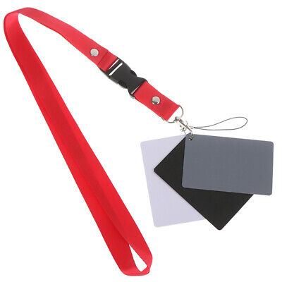 3 In 1 White Black 18% Gray Color Balance Cards Digital Grey Card & Neck StraSL